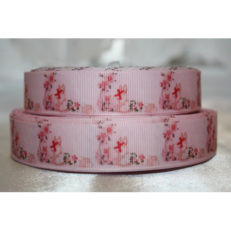 "1 metre 7/8"" Next M2M * ORANGE FLORAL * Grosgrain Ribbon"