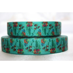 "1 metre 7/8"" Next M2M * GREEN FLORAL* Grosgrain Ribbon"