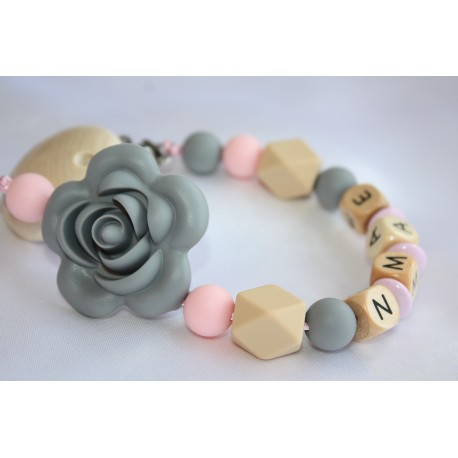 Grey Rose Personalised Wooden Dummy Clip , Silicone Chain