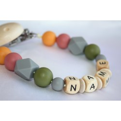 Personalised Wooden Dummy Clip , Silicone chain