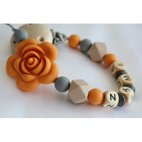 Mustard Rose Personalised Wooden Dummy Clip , Silicone Chain