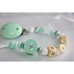 Mint Glitter Crown Personalised Wooden Dummy Chain