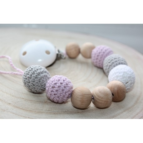Crochet Wooden Dummy Chain /wooden pacifier holder pacifier chain