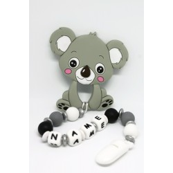 Personalised silicone Tetther / Dummy Clip - Grey Koala