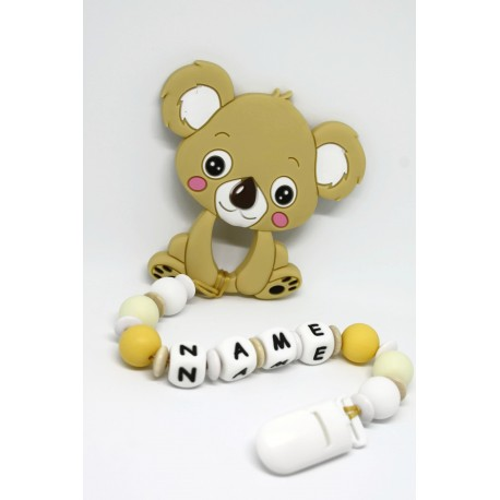 Personalised silicone Tetther / Dummy Clip - Cream Koala