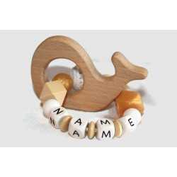 Personalised Teether baby wooden, silicone beads - WHALE