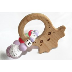 Personalised Teether baby wooden, silicone beads - OCTOPUS
