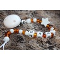 Amber & Wooden. Personalised Dummy Clip with STAR