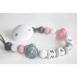 Tiny rose Personalised Wooden Dummy Clip , Silicone Chain