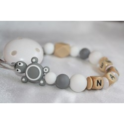 Grey Turtle Personalised Wooden Dummy Chain , Silicone Dummy Clip