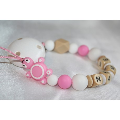 Pink Turtle Personalised Wooden Dummy Chain , Silicone Dummy Clip