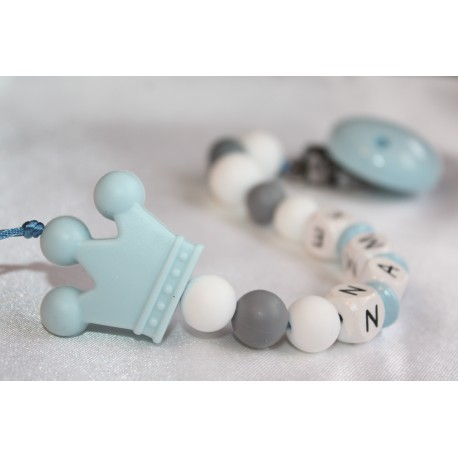 Blue Crown Personalised Wooden Dummy Chain , Silicone Dummy Clip