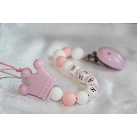 Pink Crown Personalised Wooden Dummy Chain , Silicone Dummy Clip