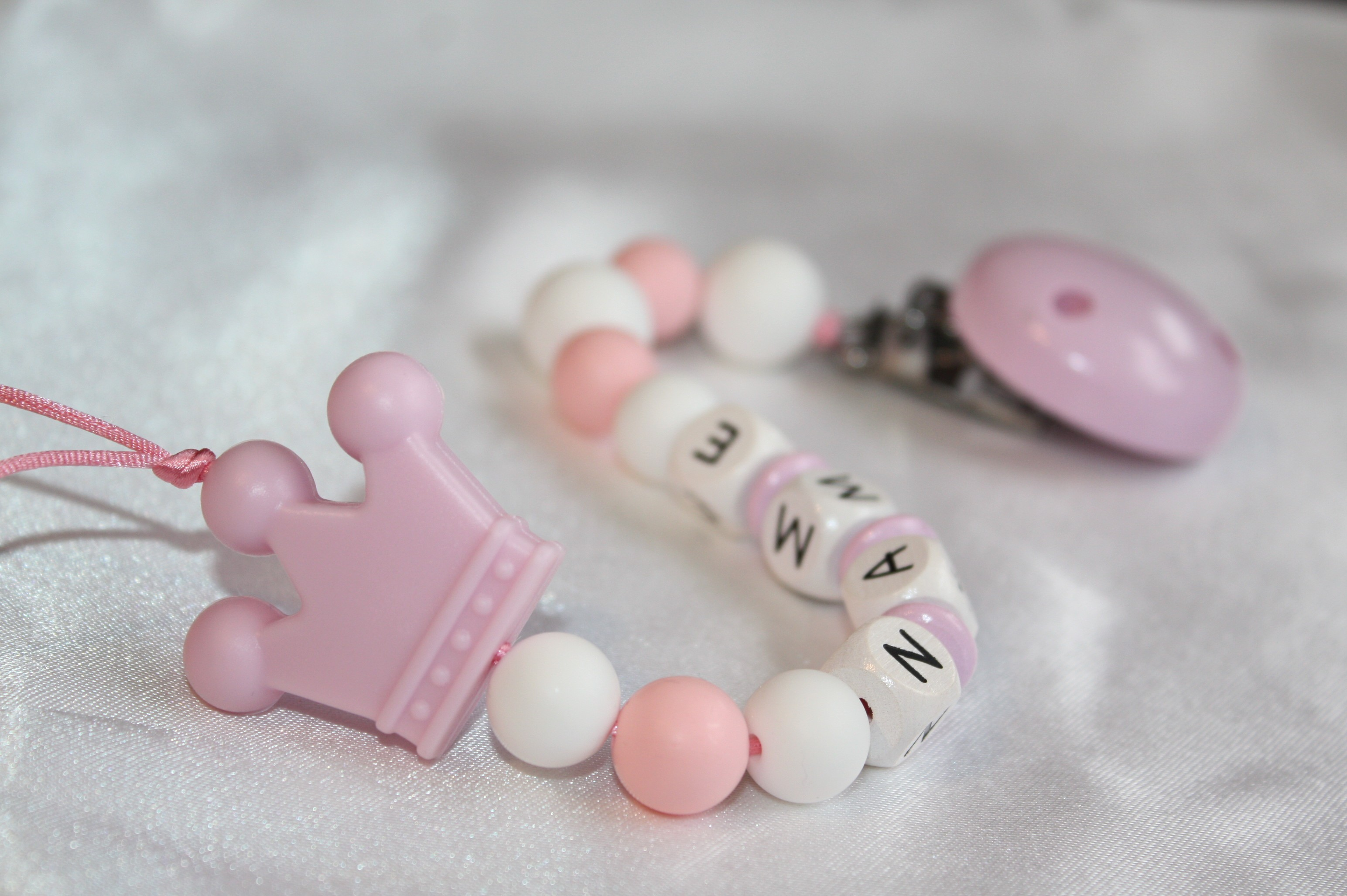 Personalise Soother Holder Wooden Dummy Clip Strap Baby Shower White Crown