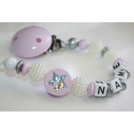 Pink Star Shamballa / Personalised Wooden Dummy Clip / Chain / Holder / Pacifier /shower gift
