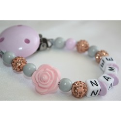 Silicone Rose /Crystal Effect / Shamballa Crystal Personalised Wooden Dummy Clip / Chain / Holder / Pacifier /shower gift
