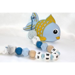 Blue Fish Personalised silicone , crochet , wooden Tetther / Dummy Clip