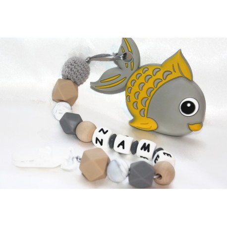 Grey Fish Personalised silicone , crochet , wooden Tetther / Dummy Clip