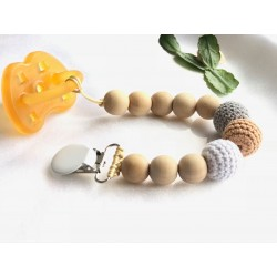 Dummy pacifier chain dummies clip holder natural organic wood ,beech maple baby newborn gift