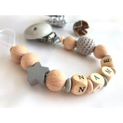 Personalised Grey Star Crochet Wooden Dummy Clip /wooden pacifier holder pacifier chain
