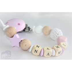 Personalised Pink Star Crochet Wooden Dummy Clip /wooden pacifier holder pacifier chain