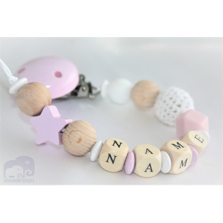 Personalised Pink Star Crochet Wooden Dummy Clip Wooden Pacifier