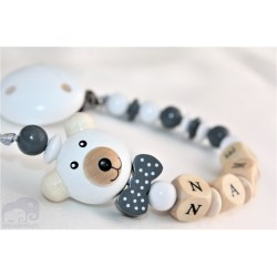 3D GREY Teddy Bear Personalised Wooden Dummy Clip / Chain / Holder / Pacifier