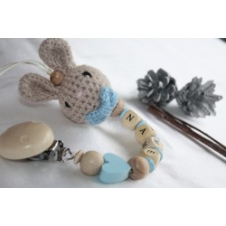 Personalised Crochet Bunny Pacifier Clip, Blue Bunny Dummy Clip