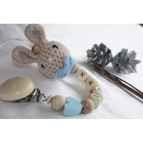 Personalised Crochet Bunny Pacifier Clip, Bunny Dummy Clip