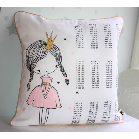 Princess Print Times Tables Chart Pillow Cases Pillowcase, Kids Pillows