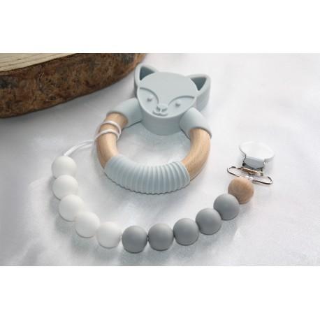 Grey FOX Silicone Wood Teether | New Baby Teething Clip | Baby Boy Gift