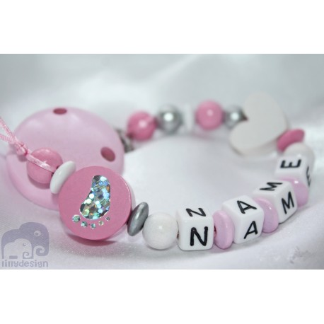 Foot Pink Personalised Wooden Dummy clip / Chain