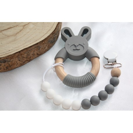 Grey BUNNY Silicone Wood Teether | New Baby Teething Clip | Baby Boy Gift