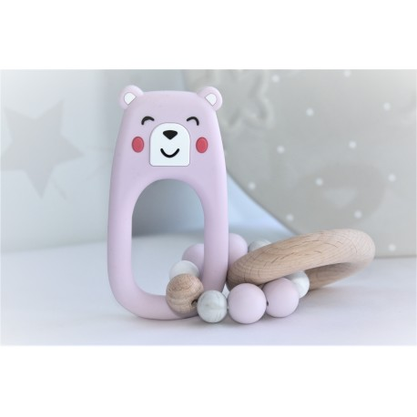 PINK Bear Teether Baby Rattle Ring Toys, Silicone & Beech Wood Teething Bracelets for Babes, Cute Baby Chew Toys Nursing Gifts