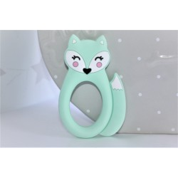 Mint silicone fox teether ,teething baby, baby gift,