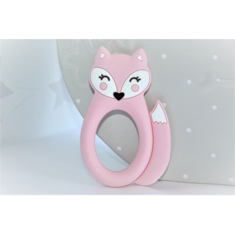 PINK Silicone fox teether ,Teething Baby, Baby gift