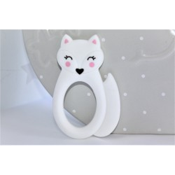 White Silicone fox teether ,Teething Baby, Baby gift
