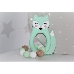 Mint Fox Silicone Teething Toy Baby Teether, Rattle