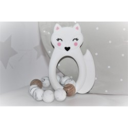 White Fox Silicone Teething Toy Baby Teether, Rattle