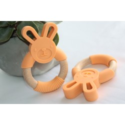 Bunny Silicone and Wood Teether Ring - Orange