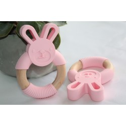 Bunny Silicone and Wood Teether Ring -Pink