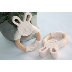 Bunny Silicone and Wood Teether Ring , Rabbit Teether - Ivory