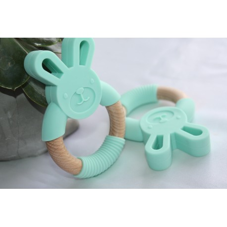Bunny Silicone and Wood Teether Ring - Mint
