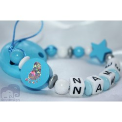 Foot Blue Personalised Wooden Dummy clip / Chain