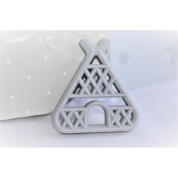 Teepee Teether , Silicone Baby Teether -Grey