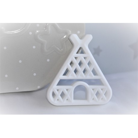 Teepee Teether , Silicone Baby Teether -White