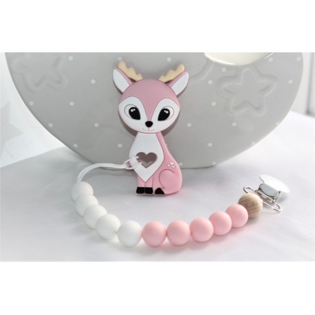 Deer teether, silicone teether, Dummy clip- Pink
