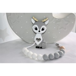 Deer teether Grey , silicone teether, Dummy clip