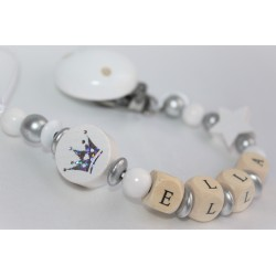 White Glitter Crown Personalised Wooden Dummy clip / Chain