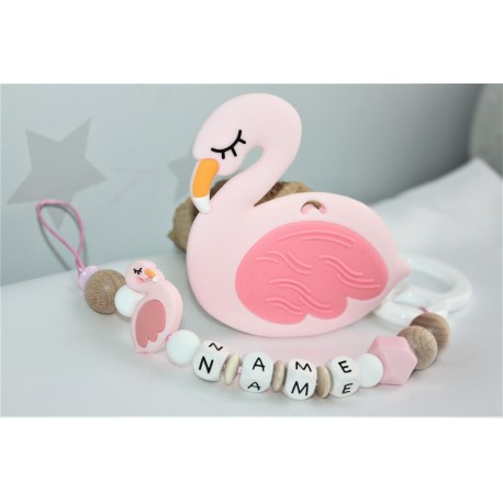 Personalised Pink Flamingo Teether & Dummy clip